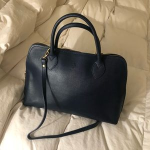 Italian Leather Handbag in Navy